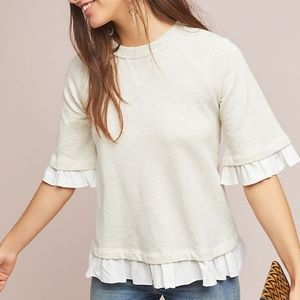 NWT Anthropologie Nadia Ruffled Pullover Top S